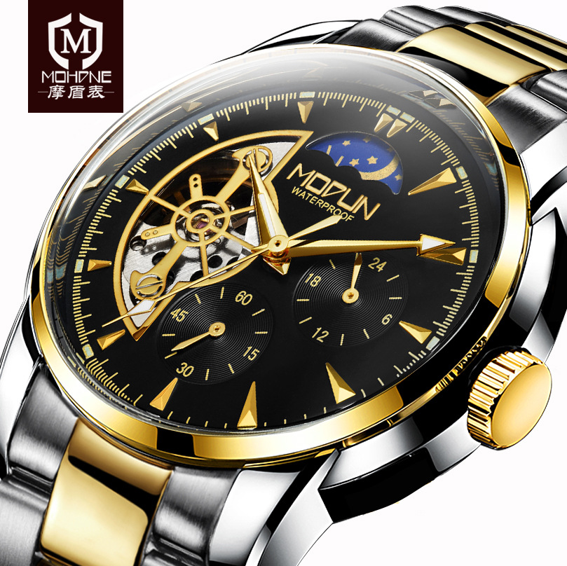 Luxury Brand Automatic Watch Men Tourbillon Mechanical Watches Skeleton Genuine Leather Horloges Mannen Stainless Steel Relogios tevise automatic mechanical tourbillon watch men luxury auto date day month stainless steel mens wristwatch horloges mannen