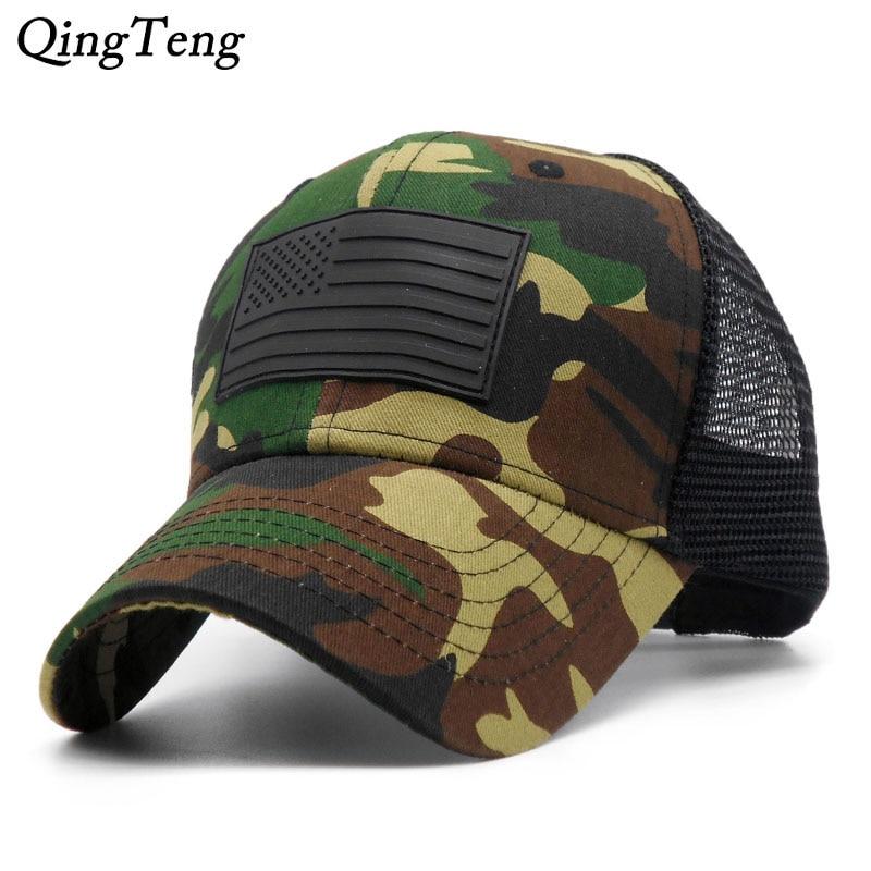Prix pour Camouflage Respirant Chapeau De Maille D'été Solide Réglable Marque Hommes Casquette de baseball 6 Panneaux Hip Hop Polo Relances Chapeaux Pour Femmes
