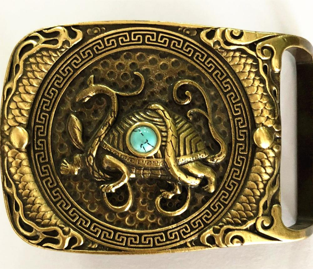 Vintage Antique Pure Brass Copper Big Belt Buckle Chinese Legand