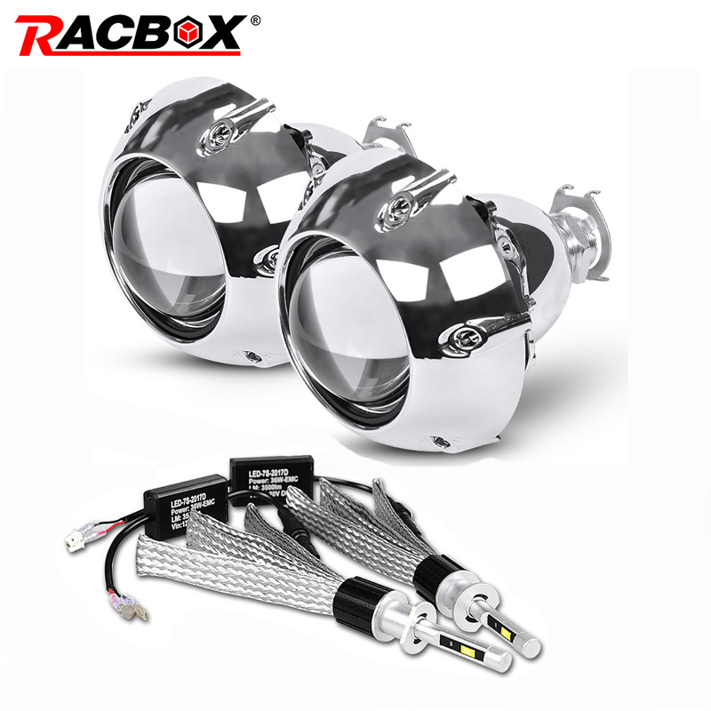 2Pcs 2.5 inch Universal HID Projector Lens with Silver Shrouds for H4 H7 Motorcycle Car Styling Projector lens with H1 Led Bulbs цена
