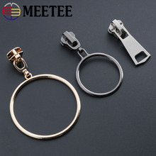 Meetee 5pcs 5# Metal Zipper Head Slider Puller Clothes Pants Jacket DIY Accessories Ring Circle Repair Kits Sliders AP572