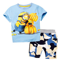 Children Boys Clothing Set Minions Cartoon T Shirt Shorts Camouflage Pant Kid Sport Suit For Summer