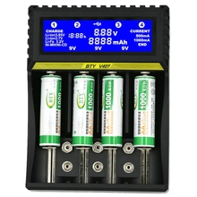 BTY-V407 Battery Charger Li-ion Li-fe Ni-MH Ni-CD Smart Fast Charger for 18650 26650 6F22 9V AA AAA 16340 14500 Battery Charge 4 solts smart lcd battery charger for li ion imr lifepo4 26650 18650 17500 16340 cr123a and ni mh cd aa aaa a sc c size