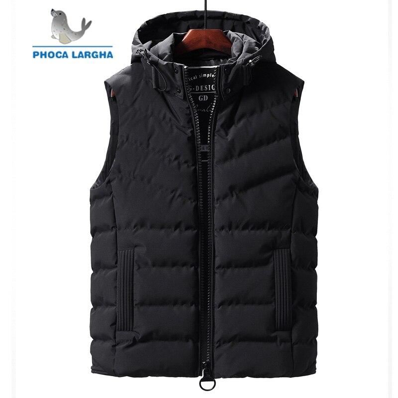 2019 nouveau hiver sans manches vestes pour hommes mode chaud à capuche gilets mâle couleur unie grande taille hommes gilet décontracté gilets