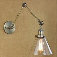 Edison ferro ajustável abajur de vidro Industrial lâmpada de parede do Vintage luminárias para casa Bar café iluminação interior Lampara Pared