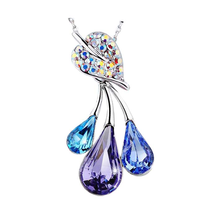 B83 Drop Pendent Necklace woman Fashion Crystal Necklaces wholesale Colors ...