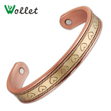 Wollet Arthritis Pain Relief Bangle Heart Design Magnetic Cuff Bracelet Bangle for Women