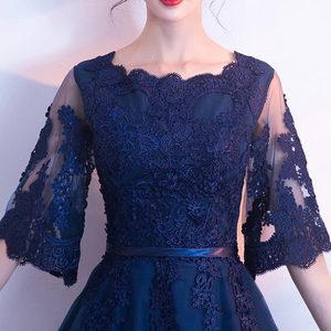 Image 4 - DongCMY New Arrival Evening Dress Bandage Lace Embroidery Luxury Satin Short Sleeved Long Elegant Robe De Soiree Gown