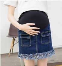Summer wear han edition maternity 2016 pregnant women they tassel jeans abdomen skirts pregnant women leggings