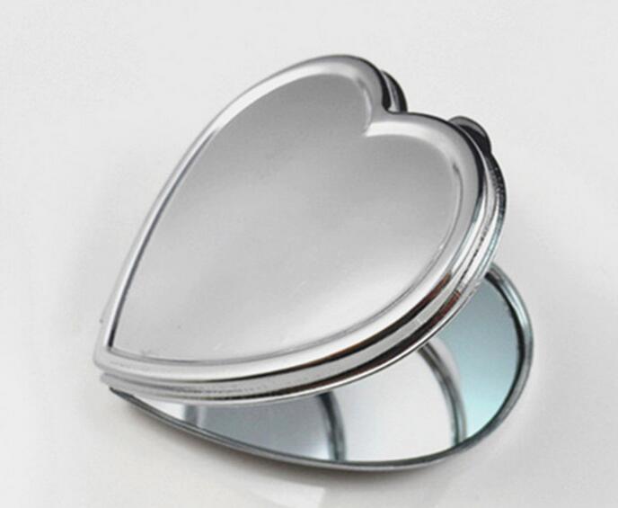 diy en blanco en forma de corazn espejo de metal compacto espejo de maquillaje cabe