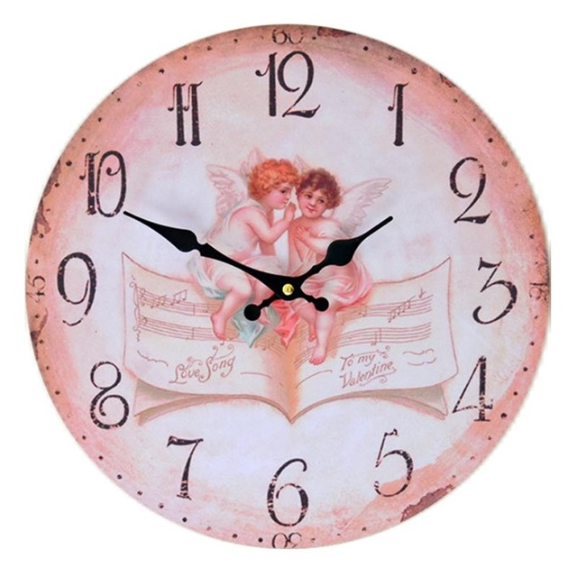 Retro fashionable wooden home frameless wall clock angel pattern ...