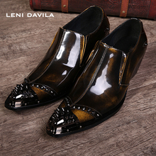 LENI DAVILA 2017 Men s Classic copper color Genuine Leather Boots Rivets Pointed Toe shoes cowboy