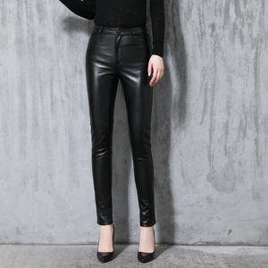 Black Trousers Pants Sheepskin Elastic-Waist Autumn Female Women Genuine OL