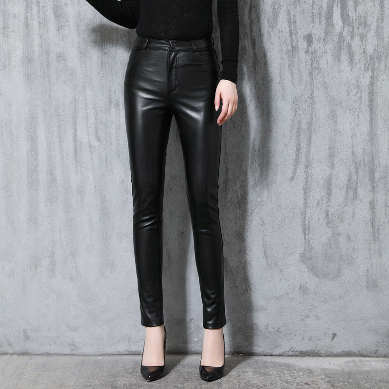 Genuine Leather Pants Elastic Waist Women Autumn Genuine Sheepskin Black Trousers Female Leather Pencil  Pants OL Slim Pants
