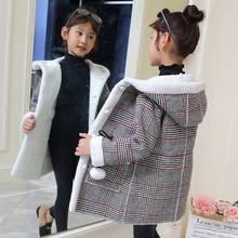 New Winter Girls Fashion Plus Velvet Thick Woolen Coat