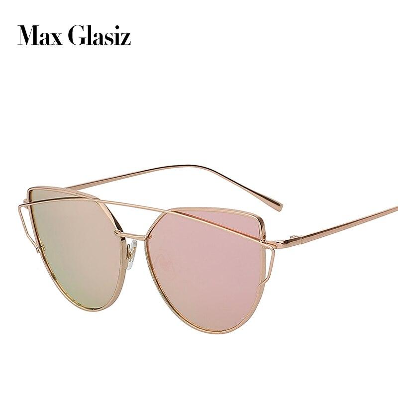 Nouveau 2018 femmes luxe CatEye lunettes de soleil en métal femmes lunettes de soleil miroir alliage cadre souche Designer UV400 lunette de soleil
