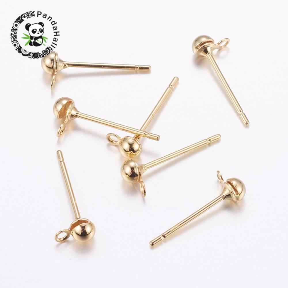 Componentes de bronze Do Parafuso Prisioneiro Da Orelha, Manutenção de cor, Real Gold-Cheia, cádmio Livre & Níquel Free & Lead Free, dourado, 5.5x3x2.5mm, buraco: