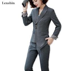 Lenshin высокое качество комплект из 2 шт. Асимметричный формальный брючный костюм Офисная женская форма дизайн для женщин Деловые костюмы