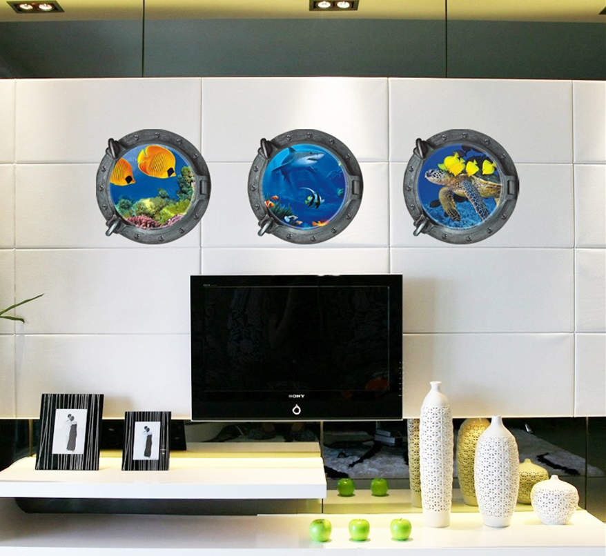 3d Submarine Portholes Wall Sticker Kids Coral Fish Boat Scuttles Decals Mural Art Kids Baby Nursery Bathroom Home Decor Bk 066