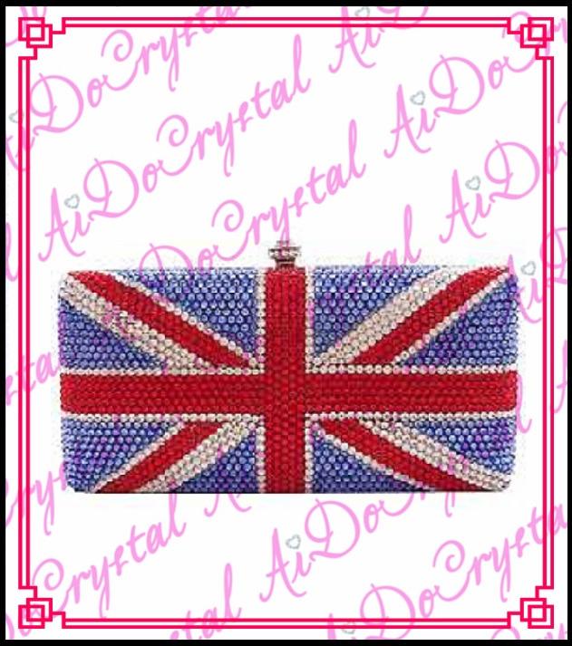 Aidocrystal diamond blue glitter handmade evening font b bag b font for lady