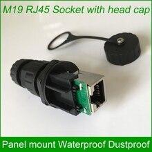 M19 RJ45 עמיד למים מחבר חיצוני AP שקע Gigabit ישר ראש פנל רכוב קבוע עם כובע תואם 10 יחידות