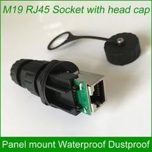 M19 RJ45 su geçirmez konnektör Açık AP soket Gigabit Düz kafa Panel sabit eşleşen kap 10 adet