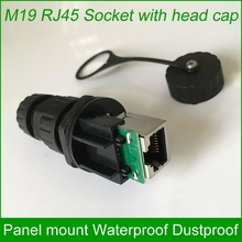 M19 RJ45 waterproof Connector Outdoor AP socket Gigabit Straight head Panel mounted fixed with matching cap 10 units