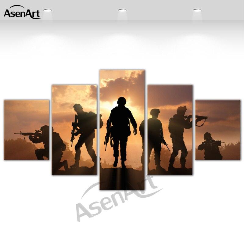 5 Panel Art Prajurit Sunset Dinding Gambar Modern Untuk Ruang Tamu - Dekorasi rumah - Foto 4