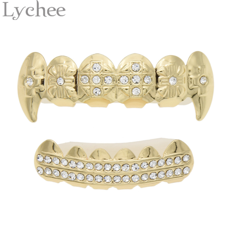 Or Argent Couleur Strass Canine Dents Hip Hop Cristal Bling Grillz Haut Bas Dentaire Grills Vampire Dents pour Costume Party(China (Mainland))