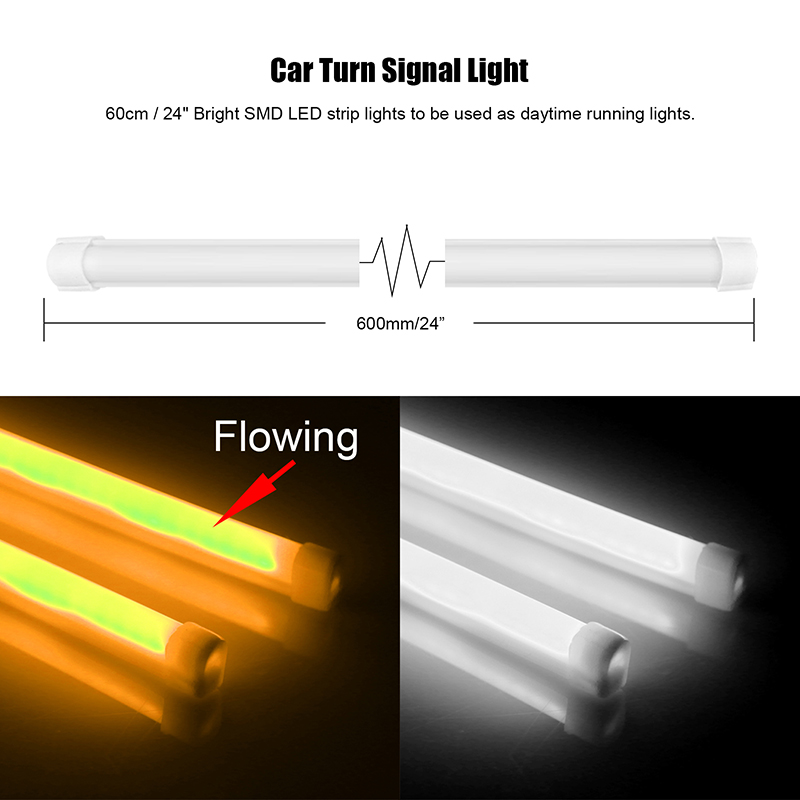 2pcs 60cm flexible car led strip light white and flowing amber guide 2pcs 60cm flexible car led strip light white and flowing amber guide bar lamp for drl angel eye headlight turning signal light in signal lamp from aloadofball Choice Image
