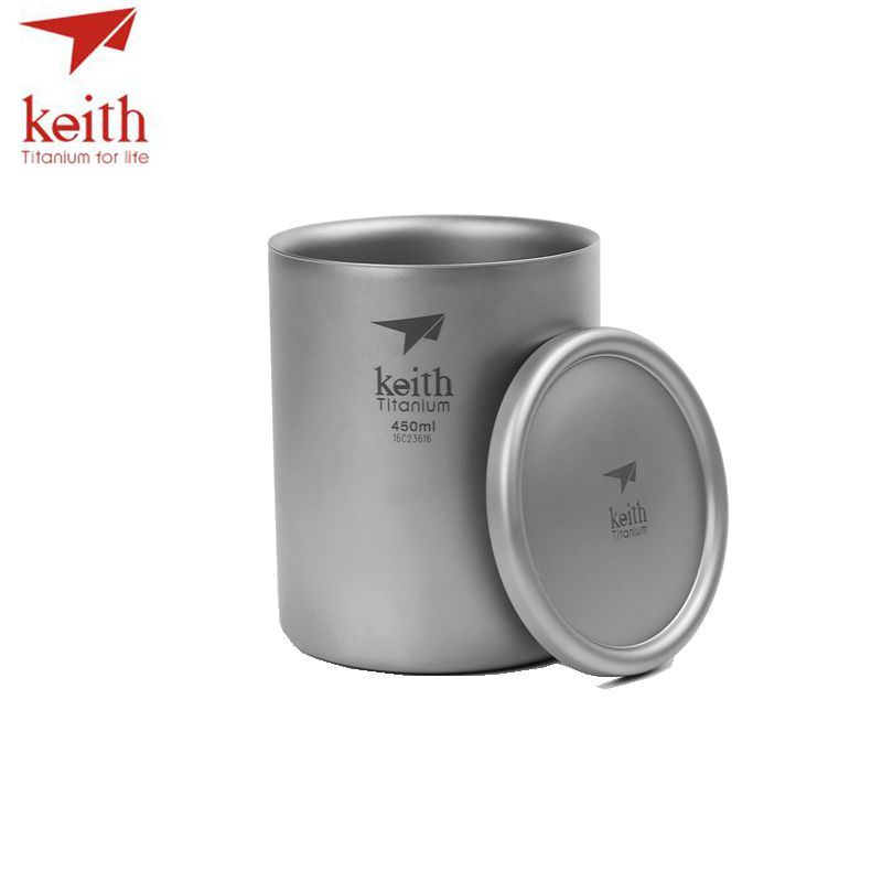 Keith Pure Titanium Double Wall Water Mugs Titanium Lid Drinkware Outdoor Camping Water Coffee Beer Cup Ultralight Travel Mug 450ml 15 2oz double wall keith titanium cup with loose coffee infuser camping tea cup with lid travel mug tea maker ti3521
