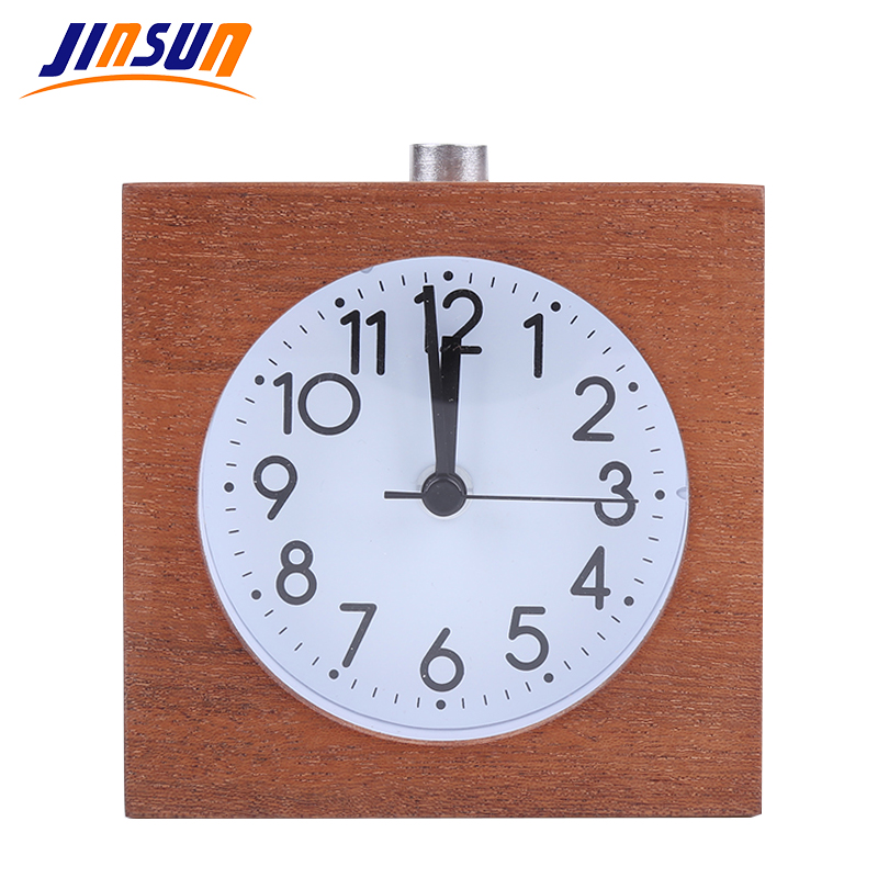 JINSUN Square Alarm Clock Балалар үшін Ағаш Snooze Clear Electronic Clock Needle 100% Wood Slience Wekker