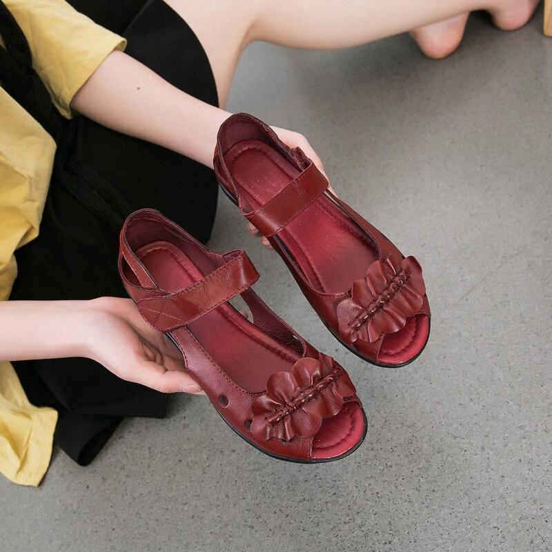 En Chaussures Plat De Véritable Noir Boucle Sandales Gladiateur Crochet Confortables Rouge Mode Femmes Cuir Timetangsummer jaune Couvercle vin Talon Bowknot PqARxCw