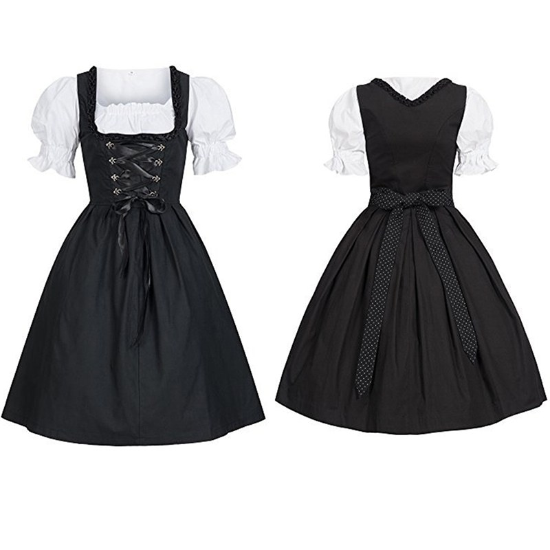 Germany Tradition Costume Bavarian Dirndl Dress With Apron Women Oktoberfest Costume Party Dirndl Maid Peasant Dress