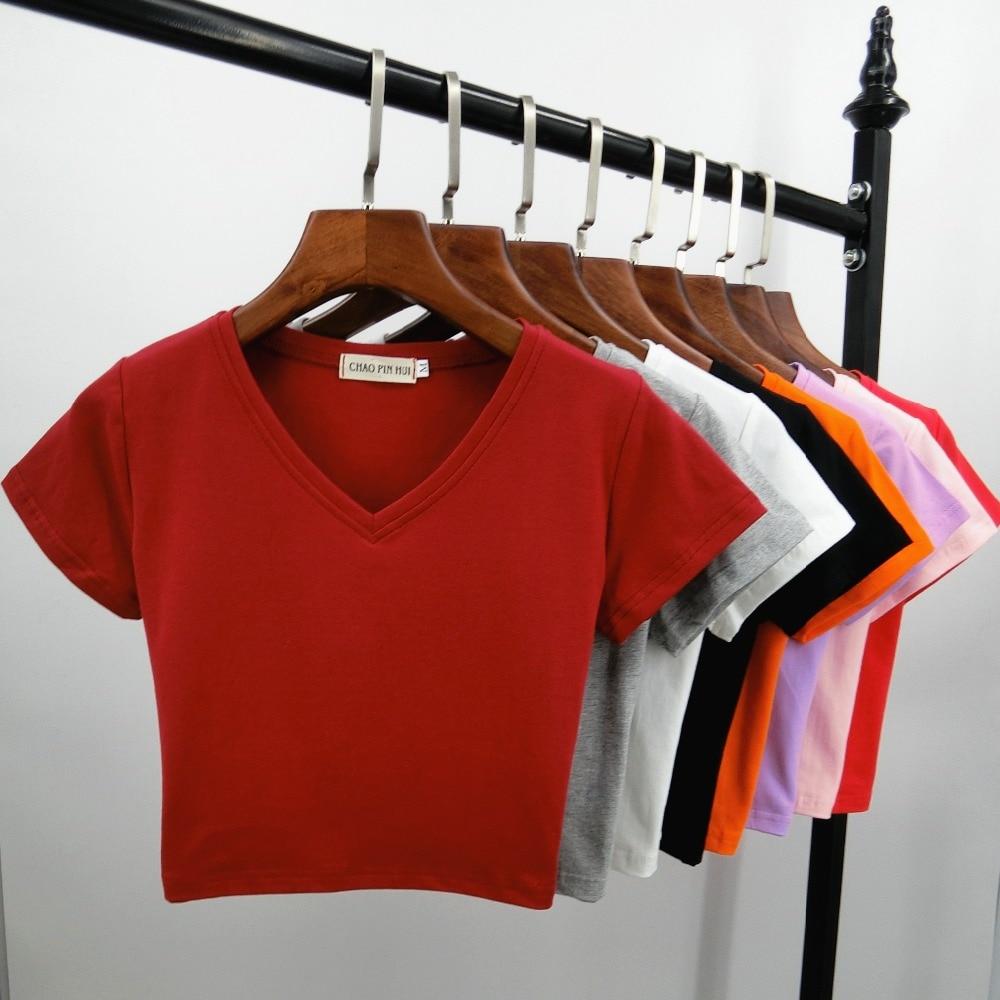 2019 New Sexy Women Summer Short Design V-neck Cotton   T     Shirt   Female Slim High Waist Crop Top Basic   T  -  shirt   Tops Tees