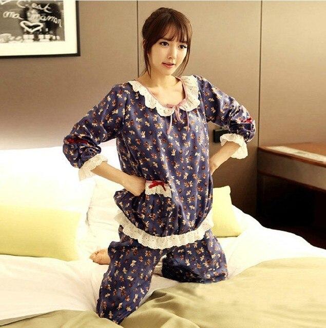 Womens Cotton Pajamas Sets Bear Casual Sleepwear Button Long Sleeve Nightgowns Long Pants Sleepwear Pyjamas Sets Plus size Jumpsuits & Pyjama Sets Women size: L|M|XL