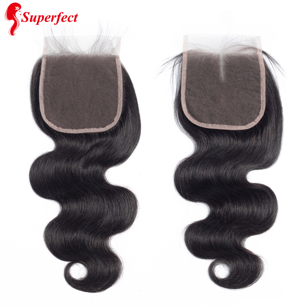 Superfect 5x5 Lace Closure Natural Color Brazilian Body Wave Remy Human Hair Closure Pre Plucked With Baby Hair