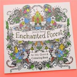 24 страницы Зачарованный лес английский издание раскраска для детей и взрослых снять стресс убить время живопись книга для рисования