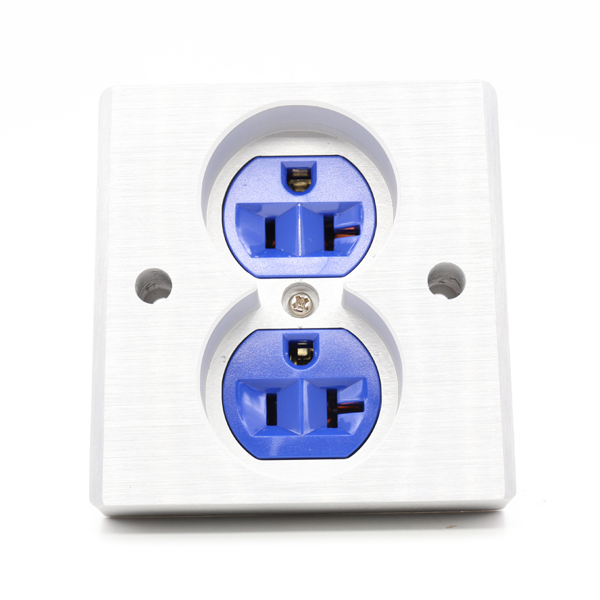 Free shipping 2pcs blue High Quality Power US AC Power Receptacle Wall Outlet Copper Socket free shipping 2pcs black high quality power us ac power receptacle wall outlet copper socket