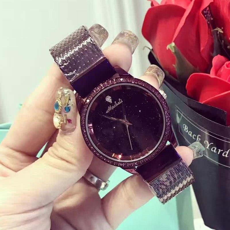 ФОТО 2017 New Famous Brand Purple Casual Geneva Quartz Watch Women Mesh Stainless Steel Dress Women Watches Relogio Feminino Clock