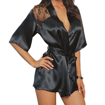 Sexy Lingerie Silk Lace Black Kimono Intimate Sleepwear Robe Night Gown Black Purple Colors