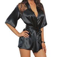 2017 nouveau chaud Sexy Lingerie soie dentelle noir Kimono vêtements de nuit intimes Robe Robe de nuit noir violet couleurs