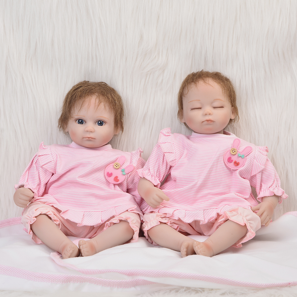 Wholesale 17'' Mini Twin Lifelike Doll Reborn Baby Soft Real Baby Born Toys Fashion Little Babies Doll Princess Birthday Gift scary lifelike soft rubber hanging bat toys pair