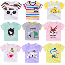 2019 in Summer children's pure cotton T-shirt baby short-sleeved cute cartoon boys girls 1 to 6 years old half-sleeve tshirt цена