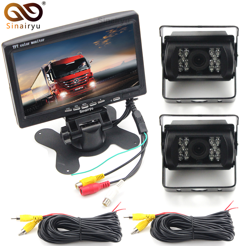 Sinairyu DC 12V 24V Truck Bus 7 Car Parking Monitor With Rear View Camera + 15M Cigarette lighter installation Power Cable diysecur 4pin dc12v 24v 7 inch 4 split quad lcd screen display rear view video security monitor for car truck bus cctv camera
