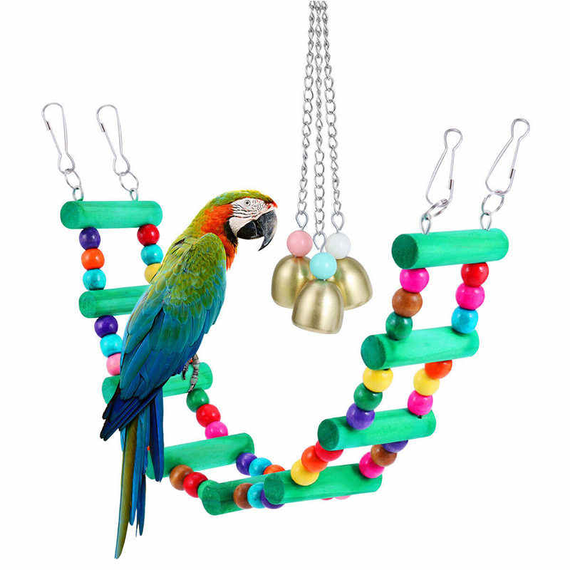 2pcs Parrot Cage Swing Hammock Bite Play Toy Set Bird Chewing Hanging Swing Toy Bells Wooden Ladder for Budgie Lovely Birds