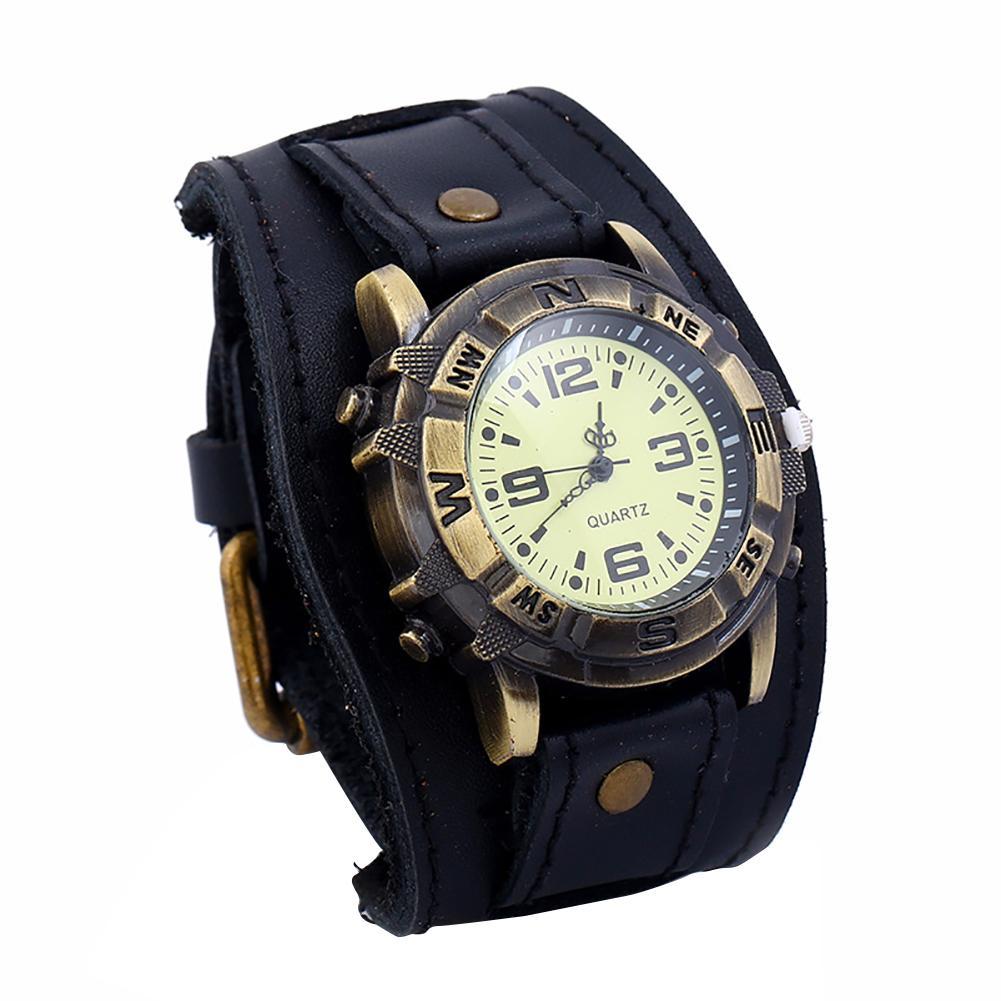 Vintage Women Men Punk Faux Leather Round Dial Quartz Bracelet Wrist Watches Relogio Masculino De Luxo