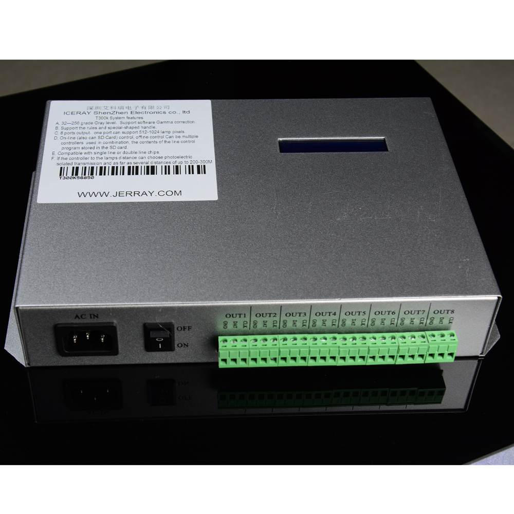 AA T-300K T300K <font><b>led</b></font> pixel <font><b>controller</b></font> RGB PC on line pixel full color <font><b>Controller</b></font> VIA PC SD Card 8 ports 8192 pixels <font><b>ws2811</b></font> ws2801 image