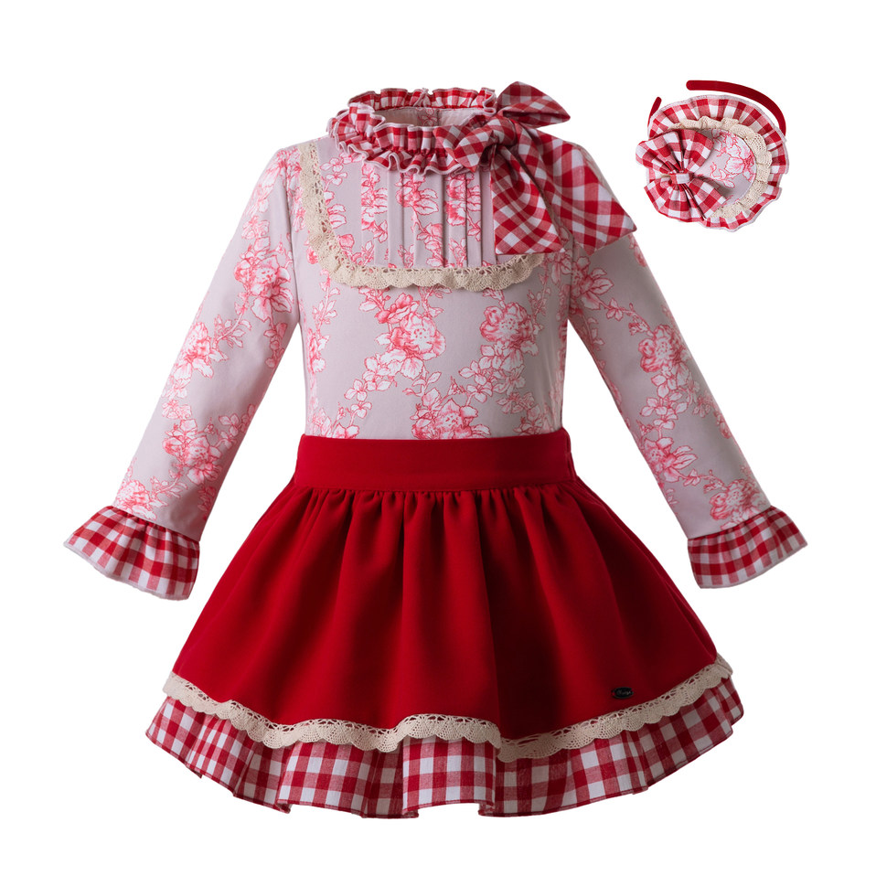 Pettigirl 2019 New Spring Girls Princess Clothing Set With Baby Headband Floral Tops Red Skirts Party