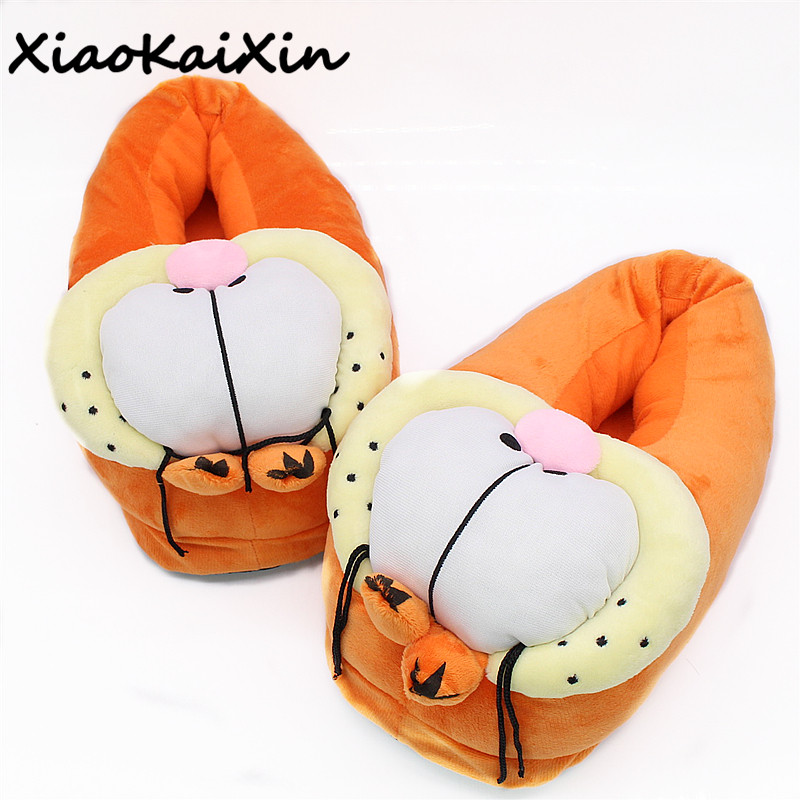 цена на XiaoKaiXin Unisex Winter Warm Plush Slippers Cute Cartoon 3D Garfield Style Home Shoes Men&Woman Indoor PP Cotton House Slipper